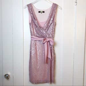 Eva Franco Dusty Rose Sequin Laurentina Dress sz 8